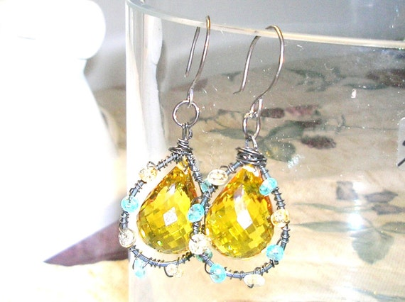 SALE Huge Golden yellow Citrine Faceted briolette and Oxidized Sterling Silver Earrings (Reserved for fairytellsall59)