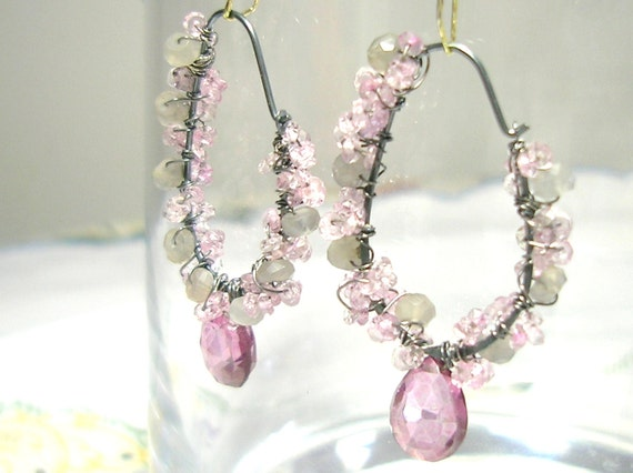 20% SALE Purple Pink Topaz faceted pear drop Earrings