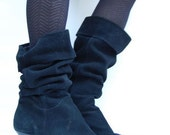 black suede SLOUCH cuff heel boots 10