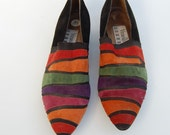 colorful suede slip on shoes 7.5