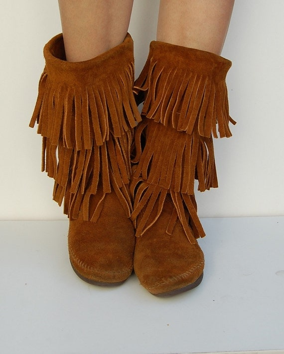 brown fringe suede hippie american boots 7