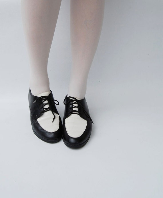 black and white ELAINE oxford shoes 7