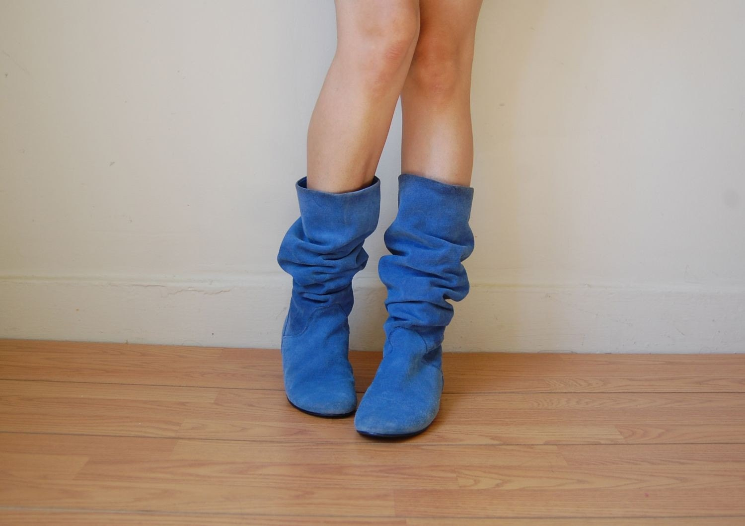 blue suede slouchy flat boots 8 5