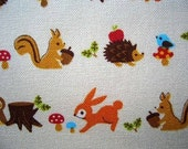 Half yard cotton canvas fabric animals of the woodlands