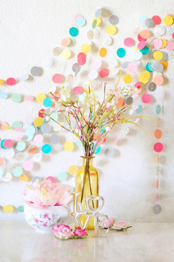 Lovely Summer Picnic 30' Wedding Paper GARLAND, Wedding Decoration, Home Decor, Birthday, Nursery, Bridal Shower, Baby Shower
