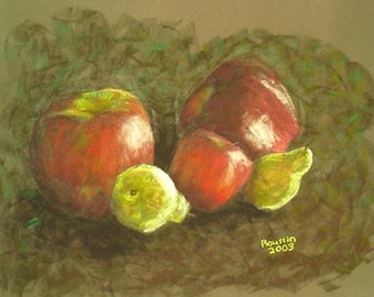 "Fruit Still Life Art Painting ""Pears with Apples"" alla prima"