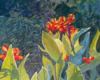 "Original Oil painting ""Gleaming Canna Lilies"""