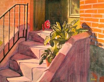 "Original Oil Flower Painting Architectural Art  ""Gerberas in Soulard"" impressionist art impressionism"