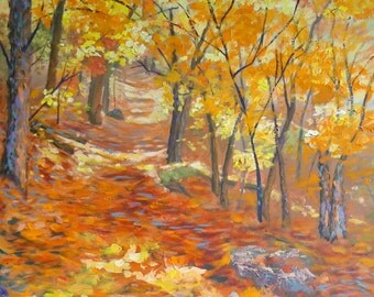 "NEW LOWER PRICE Original Large Oil Painting Canvas ""Uphill Climb"" impressionist art fall autumn landscape impressionism"