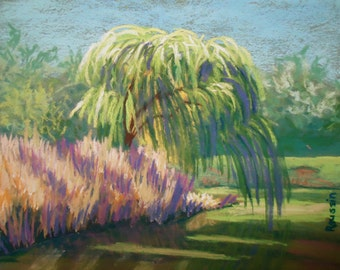"Art Originals Pastel Landscape Painting ""Willow on Boathouse Lake"" plein air impressionism"