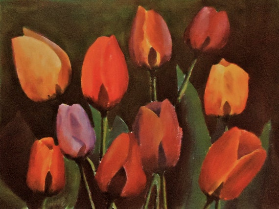 "Art Original Acrylic Flower Painting ""Tulip Explosion"" multicolor floral"