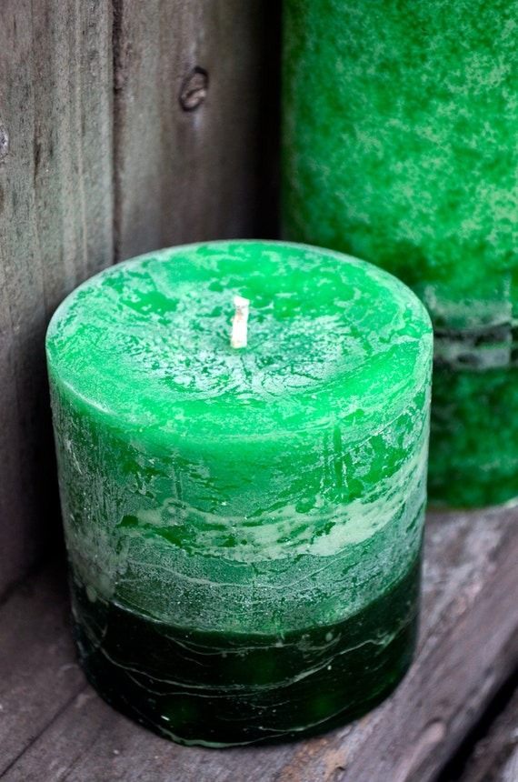 Set of Bamboo Grass Scented Candles - One Small Cylinder and One 4x4 Pillar