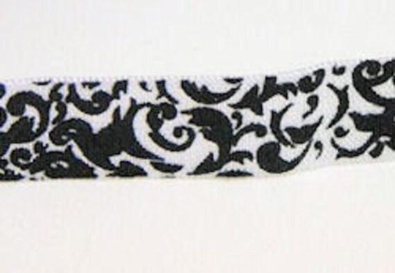 NEW DAMASK FOE - White with black damask print fold over elastic - 5 Yards