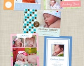 5 Birth Announcement PSD Photoshop Templates . . . Hearts and Kisses collection