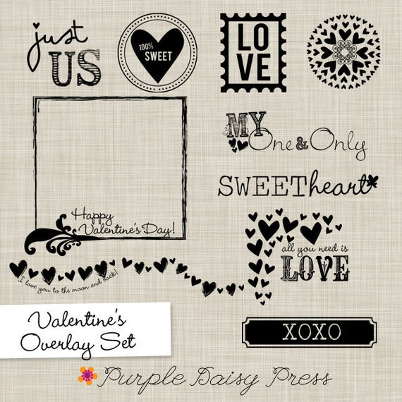 set of 10 valentine's day overlay psd photoshop templates