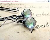 20% Off SALE S O L E M N. T H O U G H T S... Mystic quartz on oxidized sterling earrings