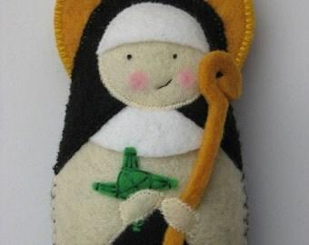 Saint Brigid of Ireland Felt Saint Softie