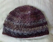 Handspun Hand-dyed and Hand Crocheted Hat