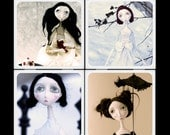 Blackeyedsuzie Victorian Doll Ceramic Coaster Set