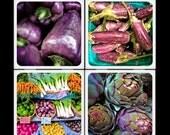 Purple Veggies - Ceramic Coaster Set