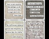 ChicalooKate Brilliant, Stupid Quotes Ceramic Coaster Set
