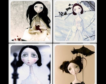 Blackeyedsuzie Victorian Doll Ceramic Coaster Set