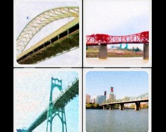 Portland Painted Bridges - Ceramic Coaster Set