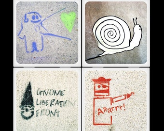 ChicalooKate Urban Guerrilla Art Ceramic Coaster Set