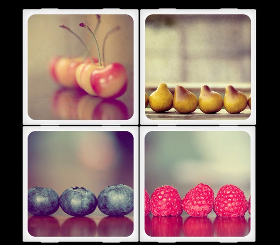 Amelia Kay Photography - Fresh Fruits and Berries Ceramic Coaster Set