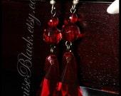 Blood Drop Chandelier Prism Earrings by Louise Black
