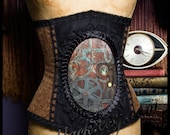Back in Time Steampunk Gears Cameo Corset by Louise Black Ready to Ship size Medium 25 Inch