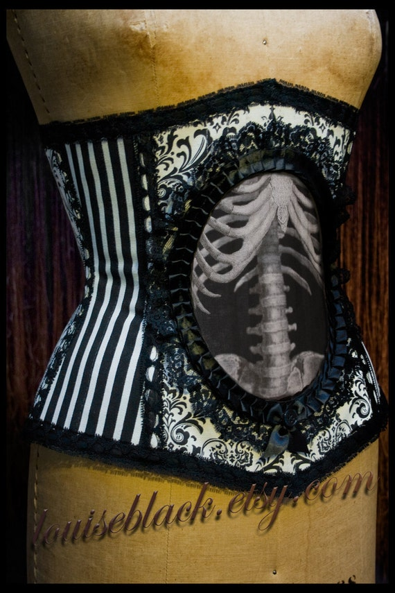 Reserved for zakbrookes Second Layaway payment on New and Improved Nouveau Skeleton Corset by Louise Black