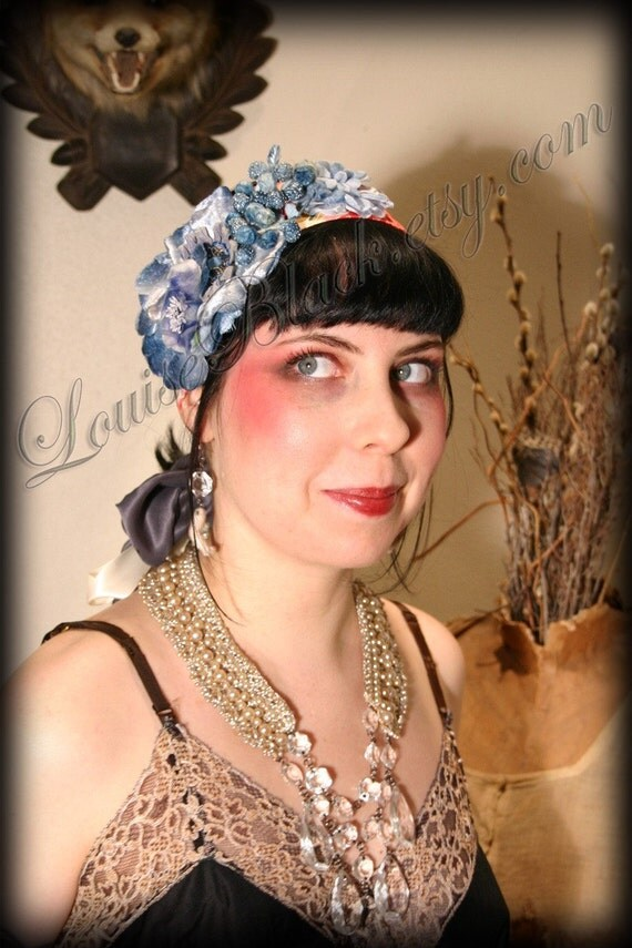Baby Blues Fanciful Summer Hair Corsage Headband by Louise Black
