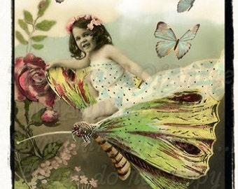 Flying Fairy Altered vintage photograph, digital download