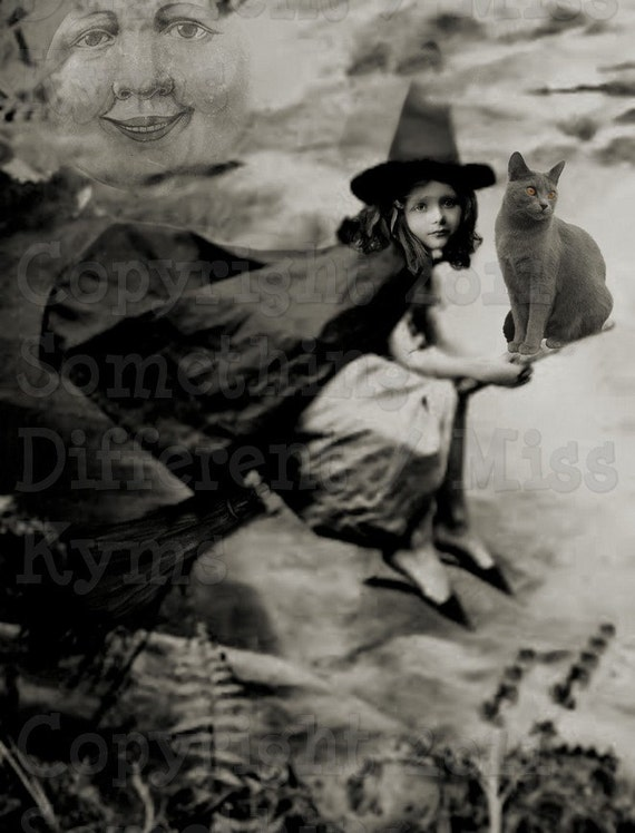 Little Girl Witch Halloween altered photograph digital download