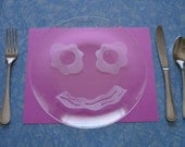 Etched Glass Smiling Breakfast Plate