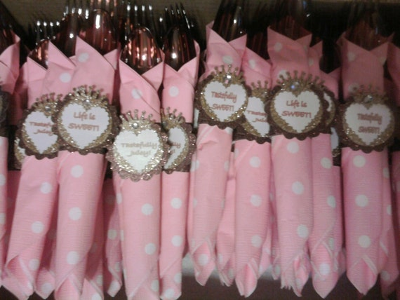 Custom Listing for DONNA-Juicy Couture inspire wrapped utensils & ring holder