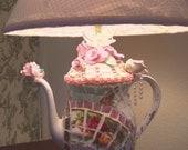 Teapot Lamp, handmade broken China Mosaic  Teapot Lamp,So Chic and shabby, Cottage