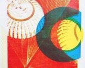 SALE - Screenprint - Red Parachutes - Handpulled silkscreen print