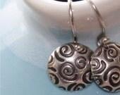 Silver Swirl - Petite Domed Earrings