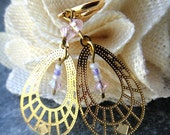 lady luck ... gold, crystal & glass dangle earrings, spring hoop clip on (7lx no. 14)
