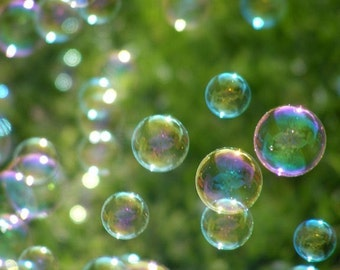 Photography - Wonder - 8x10 Bubble Photograph - Nursery Art in Green - IN STOCK