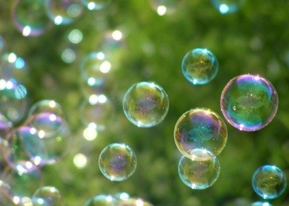 Wonder ACEO - 2.5 x 3.5 Art Photo - Bubbles on Green - IN STOCK