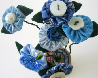 Fabric Yo yo Recycle Button Flower Bouquet Fragrance Free Room Decor Office, Home, Hospital, Dorm