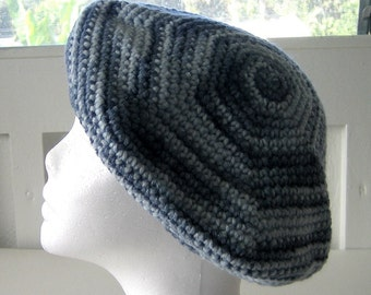 Hand Crocheted Hat - Beret or Tam Style - Multi-Colored Soft Blues Suitable for Women or Men - USA Made - Versatile