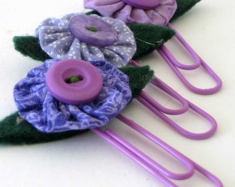 Fabric Bubble and Buttons Bookmark Paperclip Set of three, yoyo,purple, gift for teacher
