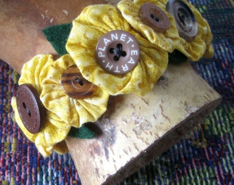 Bracelet Cuff Ankle Cuff Sunflower Fabric Bubbles buttons Snap On Fiber Wearable