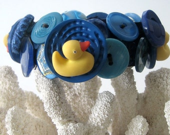 Button Bracelet Ducks in a Row Snap On Cuff Yellow and Ocean Blue Summer Fun