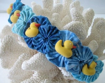Bubble Bracelet or Cuff Wrist or Ankle Button Ducks in a Row Fabric Yoyo Snap On Ocean Blue and Yellow