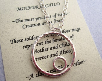 MOTHER & CHILD Necklace with Poem Sterling Silver